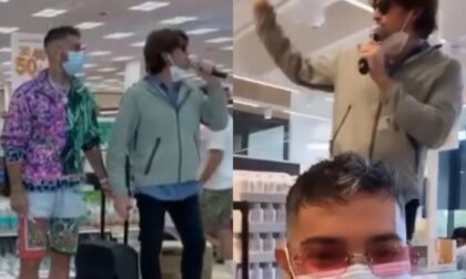 """Blitz del rapper Emis Killa e dell comico Angelo Duro al supermercato: """"Stop alla capienza ridotta nei teatri"""""""